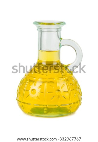 Yellow vegetable oil bottle isolated on white background - stock photo