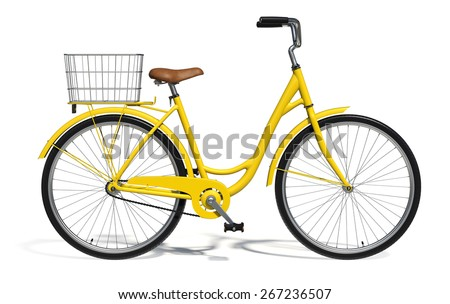 Yellow Vintage Style Bike isolated on white - stock photo
