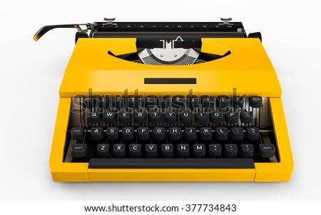Yellow vintage typewriter isolated on white - stock photo