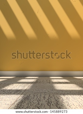 Yellow wall and floor with sunlight coming through the windows - stock photo
