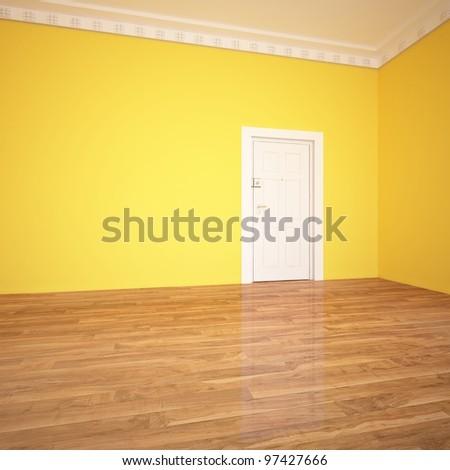 yellow wall and white door - stock photo