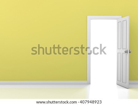 yellow wall with opened white door 3d rendering - stock photo