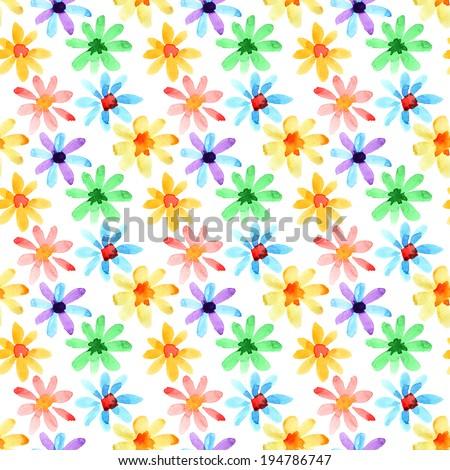 Yellow watercolor flowers - seamless pattern - stock photo