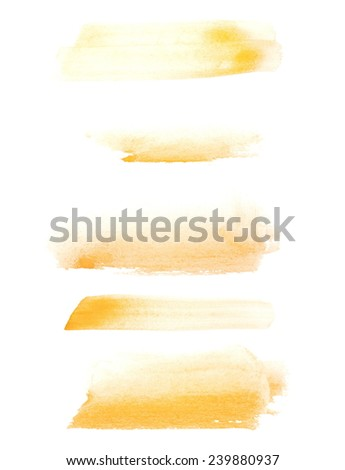 Yellow watercolor hand painted brush strokes  isolated on white background, grunge paper  texture,  (with clipping path) - stock photo