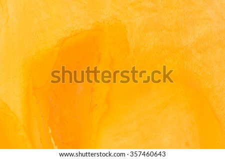 yellow watercolor painting on paper background texture - stock photo