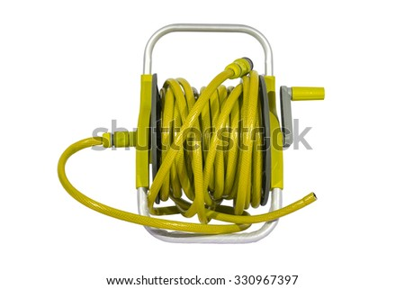 yellow watering garden hose on the spool isolated on white background. - stock photo