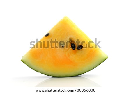 Yellow Watermelon and a cut slice Isolated in white background - stock photo