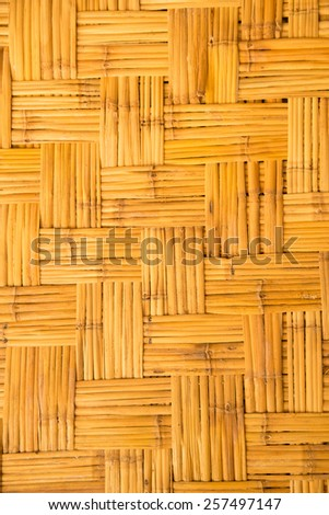 yellow  weaved traiditional bamboo wicker background - stock photo