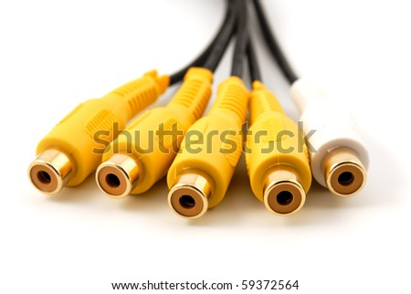 Yellow white RCA audio video plug connectors on a white background - stock photo
