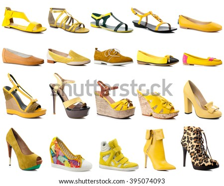 Yellow women shoes collection isolated on white background.Side view. - stock photo