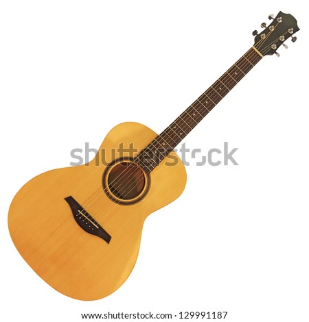 Yellow wooden acoustic guitar isolated on white background - stock photo