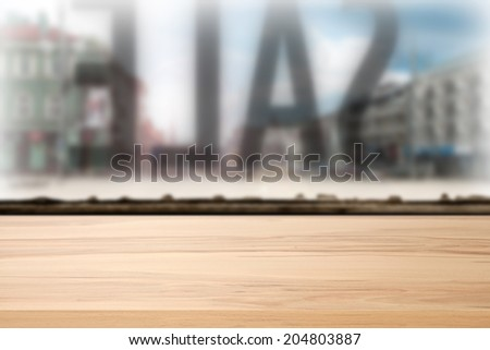 yellow wooden desk and sale  - stock photo