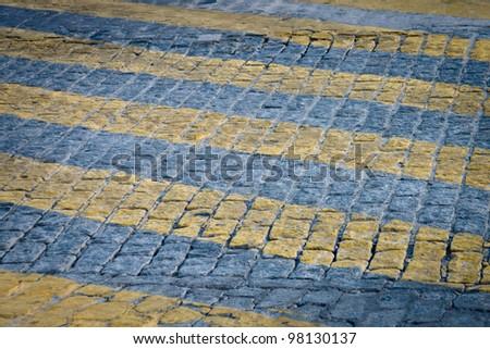 yellow zebra crossing - stock photo