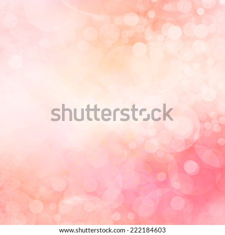 yellowed pink and peach bokeh background, faded cloudy white Christmas lights sparkling in the sky. Fantasy background design. - stock photo
