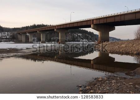 Yellowhead Highway Bridge, Prince George. The Yellowhead Bridge carrying Highway 16, the Yellowhead Highway, over the Fraser River. Prince George, British Columbia, Canada. - stock photo