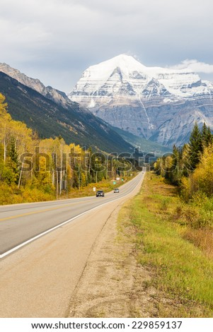 Yellowhead highway with Mt. Robson in background - stock photo