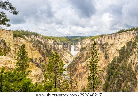 Yellowstone falls in National Park  - Wyoming - stock photo