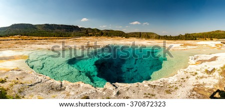 Yellowstone heat pool near Geyser Old Faithful landscape - stock photo