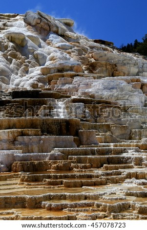 Yellowstone hot springs terrace - stock photo