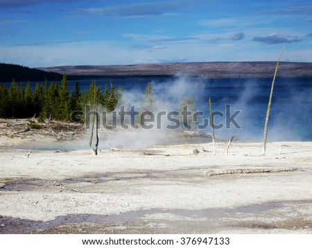 Yellowstone Lake, Yellowstone National Park, Wyoming, USA - stock photo