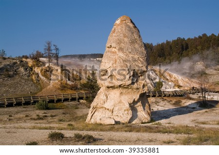 Yellowstone, Liberty Cap in the Mammoth hot springs Terraces - stock photo