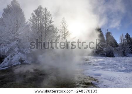 Yellowstone Mammoth  Hot Spring in winter - stock photo