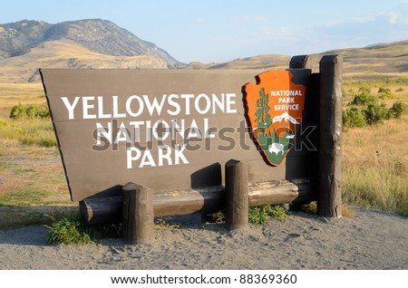 Yellowstone National Park sign - stock photo
