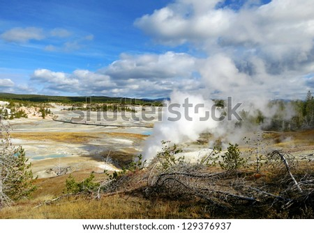 Yellowstone National Park, Wyoming, Beautiful sunny day - stock photo