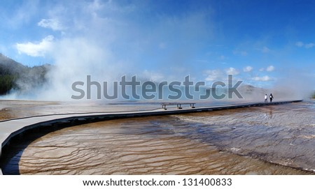 Yellowstone National Park, Wyoming, Grand Prismatic Hot Spring and colorful mud flats - stock photo