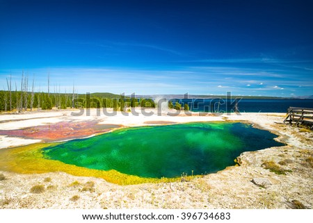 Yellowstone National Park, Wyoming, USA.  Prismatic spring.  Norris Geyser Basin, Upper Geyser Pool. - stock photo