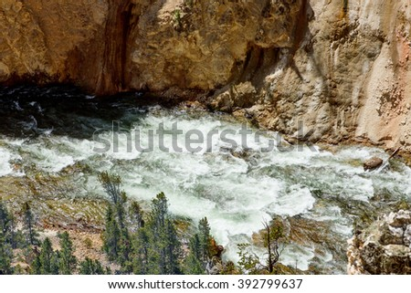 Yellowstone River flows into the Grand Canyon. Yellowstone National Park, US - stock photo