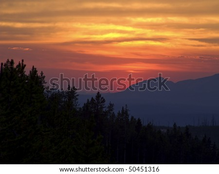 Yellowstone Sunset - stock photo