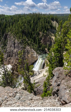 Yellowstone waterfall in Yellowstone national park - stock photo