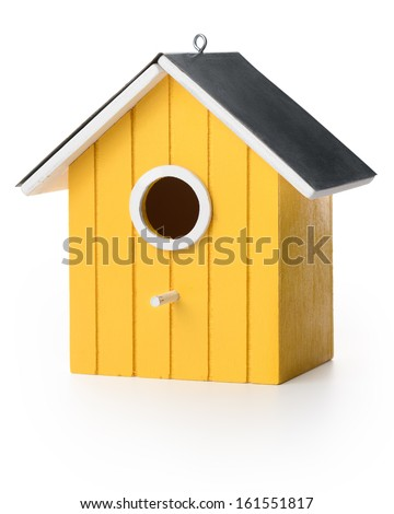Yelolow bird box - stock photo