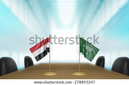 Yemen and Saudi Arabia economic trade deal talks - stock photo