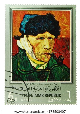 Yemen Arab Republic - CIRCA 1971: postage stamp depicting a self portrait of Vincent van Gogh, CIRCA 1971 - stock photo