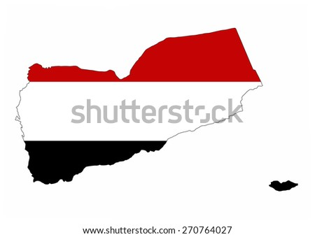 yemen country flag map shape national symbol - stock photo