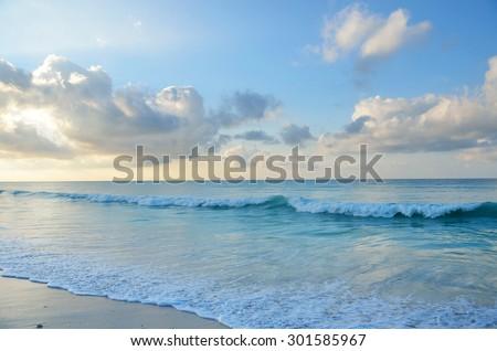 Yemen, Indian ocean at sunrise - stock photo