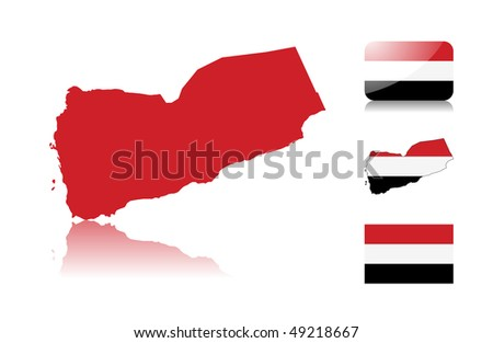 Yemen map including: map with reflection, map in flag colors, glossy and normal flag of Yemen . - stock photo