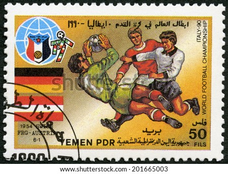YEMEN PDR - CIRCA 1990: A stamp printed in Yemen PDR shows Soccer game, Federal Republic of Germany, Austria, 1954, History of World Cup Soccer Championships, circa 1990 - stock photo
