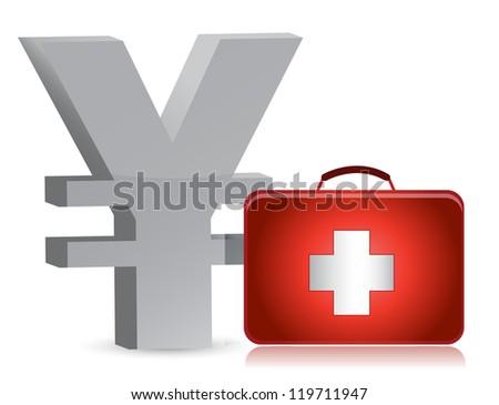 yen and medical kit illustration design over white - stock photo