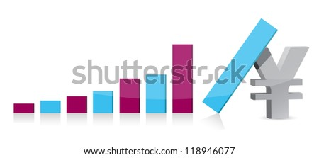 yen currency graph falling illustration design over white - stock photo