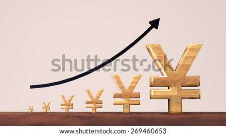 Yen currency growth illustration with black arrow. - stock photo