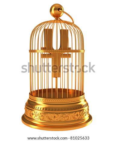 Yen currency symbol in golden birdcage isolated over white - stock photo