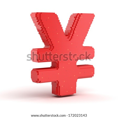 yen from cubes - stock photo