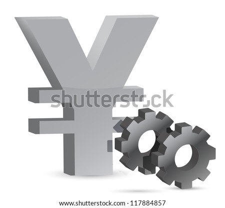 Yen gears illustration design over white background - stock photo