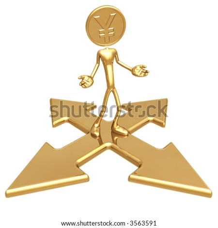 Yen Gold Coin At A Choice Of Direction - stock photo
