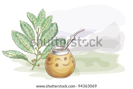 Yerba Mate and Calabash. Watercolor style. Raster version. - stock photo