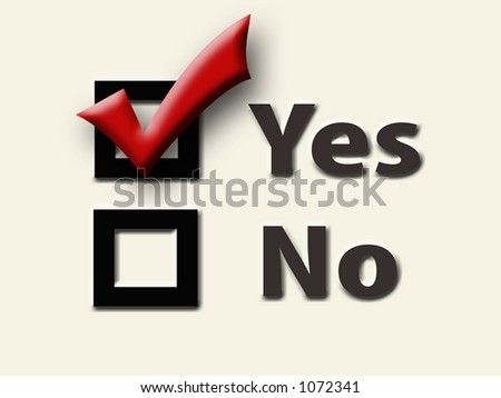 Yes and No Checkboxes with Red Checkmark in the Yes Box -- Cream Background - stock photo