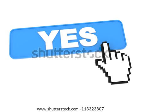 YES Blue Web Button with Cursor on It. - stock photo